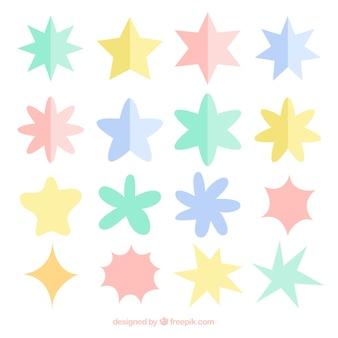 Набор красочных звезд в плоском стиле