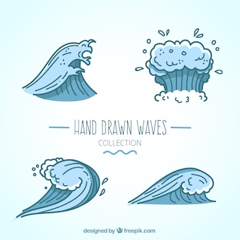 Набор из четырех фантастических синих волн