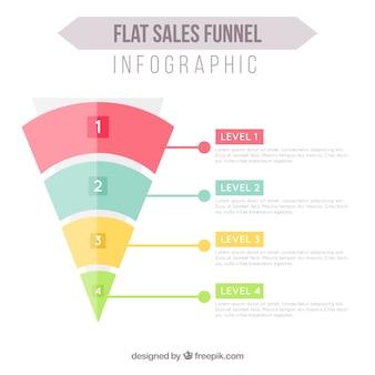 Плоский воронка инфографики с четырьмя уровнями