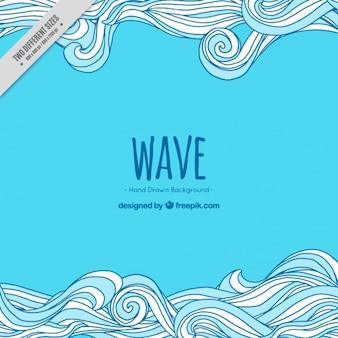 Фантастический синий фон с нарисованными от руки волны