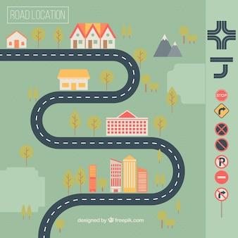 住宅や交通標識とロードマップ