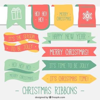 クリスマスメッセージとヴィンテージの装飾リボンのコレクション