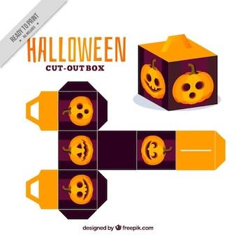 Декоративная коробка с тыквой хэллоуин