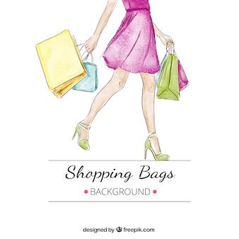 いくつかのショッピングバッグを持つ女性の水彩画の背景