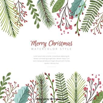 水彩画の葉とクリスマスの背景