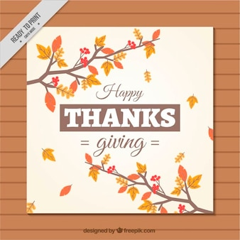 乾燥葉と枝の感謝祭カード