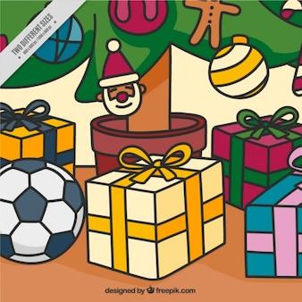 Рисованной фон с красочными рождественских подарков