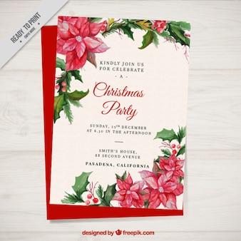 水彩ポインセチアとクリスマスパーティーパンフレット