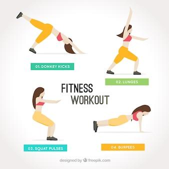 Активная женщина делает фитнес тренировки
