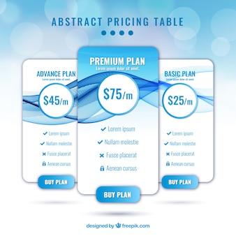 青色と抽象的なスタイルで価格表