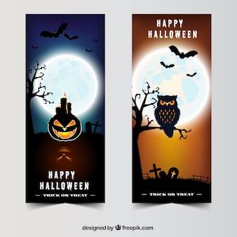 Набор из двух реалистичных баннеров с полной луной и элементами хэллоуина