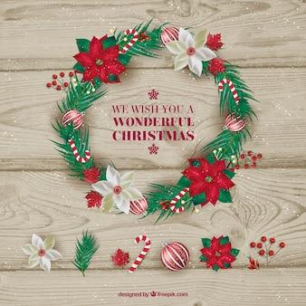 ポインセチアとクリスマスリース