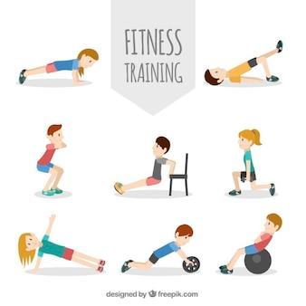 Любители спорта, показывающие различные физические упражнения