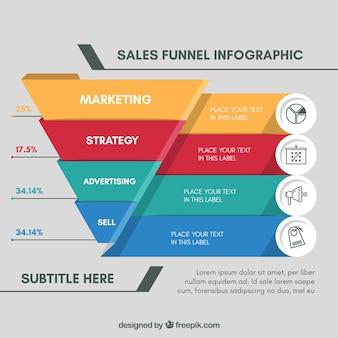 漏斗形でのビジネスのためのインフォグラフィックテンプレート