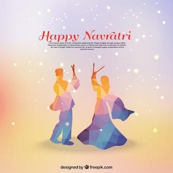 多角形のカップルとナヴラトリのお祝いの背景