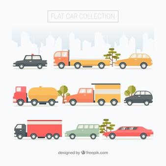 Фантастический выбор городских транспортных средств в плоской конструкции