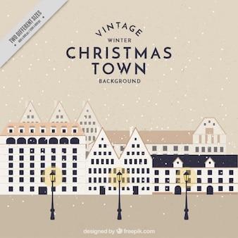 街灯とヴィンテージ街のクリスマスの背景
