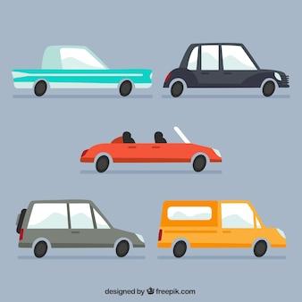 Вид автомобилей и автодомов коллекции в плоском дизайне
