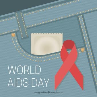 世界のエイズ日のコンドームの背景とジーンズ