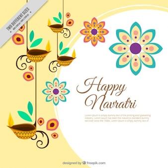 キャンドルの装飾的な花の幸せナヴラトリの背景