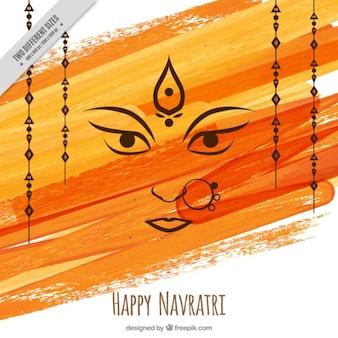 幸せナヴラトリの水彩ブラシストロークの背景