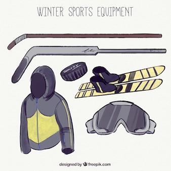 Лыжный комплект оборудования и ручной тяге хоккей