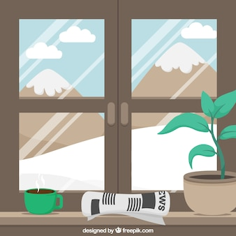 窓から雪の風景の背景