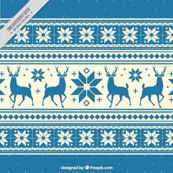 トナカイや雪の結晶と装飾的な背景