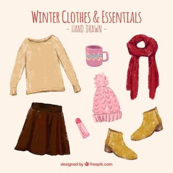 設定美しい手描きの冬服とアクセサリー