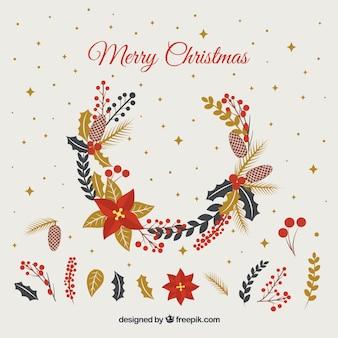 自然手描きの要素を持つクリスマスの装飾品のセット