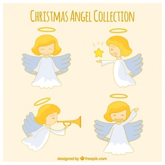 異なる姿勢での素敵な手描きの天使