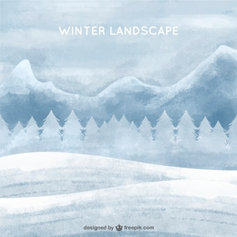 Зимний белый фон акварель пейзаж