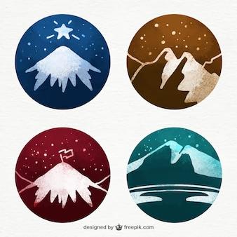 Акварельные снежные горы иллюстрации