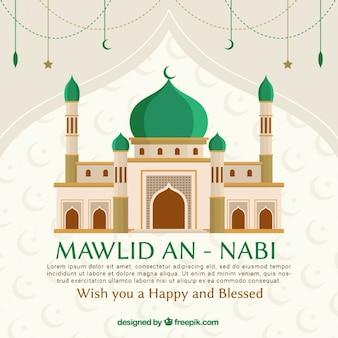 モスクとナビ背景を預言者生誕祭