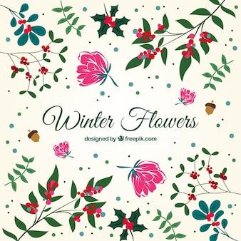 Набор рисованной декоративных цветов и листьев