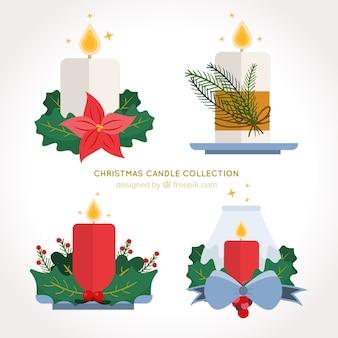 フラットなデザインのクリスマスデコレーションとキャンドルのパック