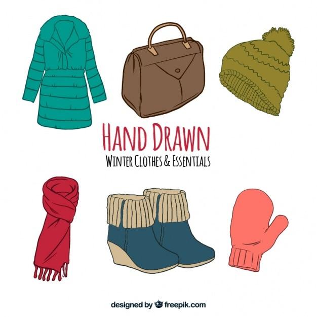 Зимние пальто и установить различные элементы ручной обращается