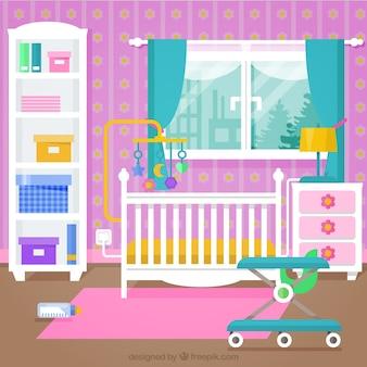 白い家具とピンクの壁とかわいい赤ちゃんの部屋