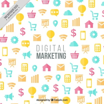 Маркетинг фон с красочные иконки в плоском дизайне