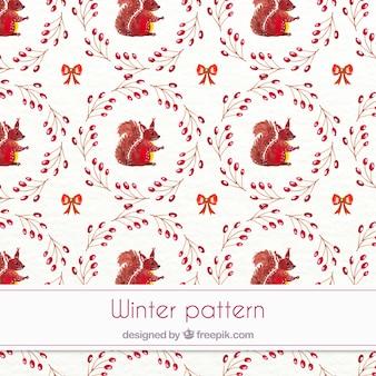 リスと水彩冬のパターン