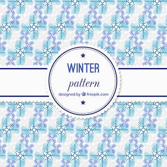 ブルー水彩冬のパターン