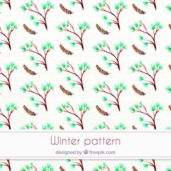 木と水彩冬のパターン