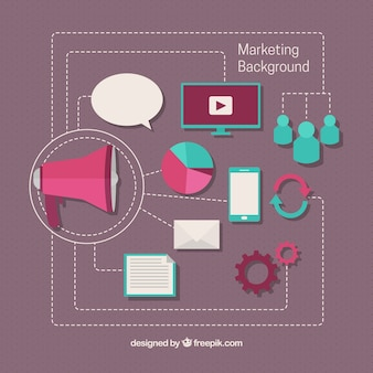 メガホンや研究アイコンでマーケティングの背景