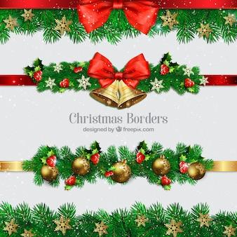 Коллекция рождественских границ с шарами и колокольчиками