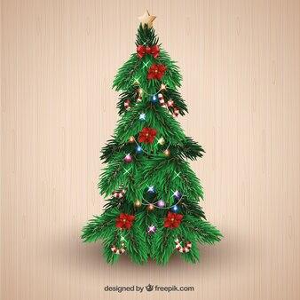 Рождественская елка с шариками и католическое