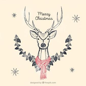 Веселая рождественская открытка с оленем эскиз