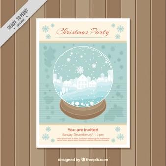 雪だるま式とクリスマスパーティーパンフレットのテンプレート