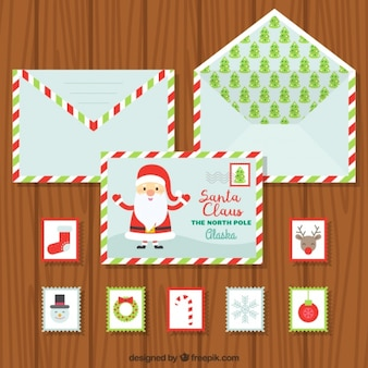 ポストカードやクリスマス切手と封筒のコレクション