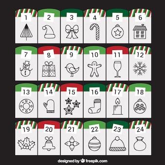 クリスマスの図面とアドベントカレンダー