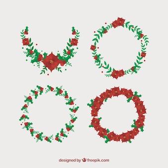 ポインセチアとクリスマスの花輪のパック